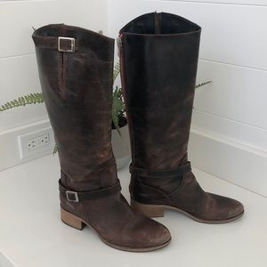 Charles David distressed brown boots.